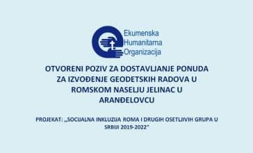 VišePoziv za dostavljanje ponuda za izradu KTP za romsko naselje Jelinac u Aranđelovcu